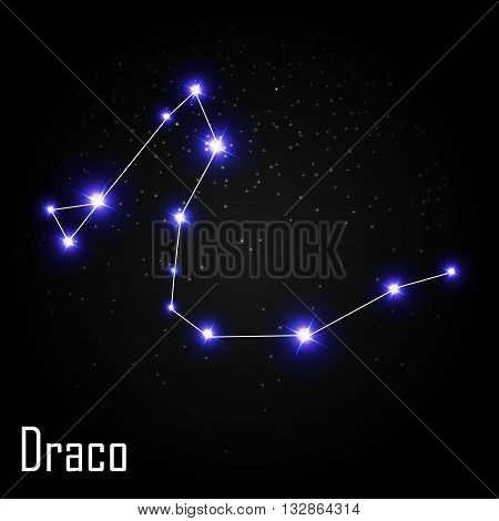 Draco Constellation with Beautiful Bright Stars on the Background of Cosmic Sky Vector Illustration EPS10
