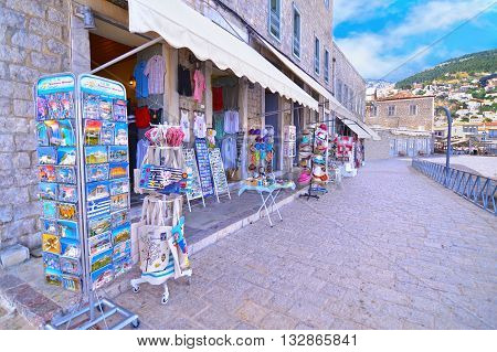 HYDRA ISLAND GREECE, MAY 27 2016: touristic shops with souvenirs at Hydra island Saronic Gulf Greece.