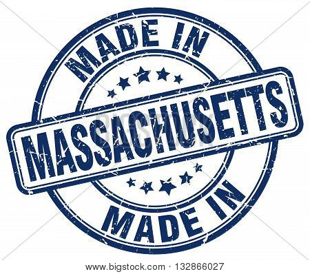 Made In Massachusetts Blue Round Vintage Stamp.massachusetts Stamp.massachusetts Seal.massachusetts