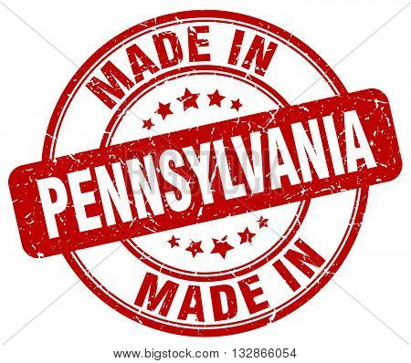 Made In Pennsylvania Red Round Vintage Stamp.pennsylvania Stamp.pennsylvania Seal.pennsylvania Tag.p