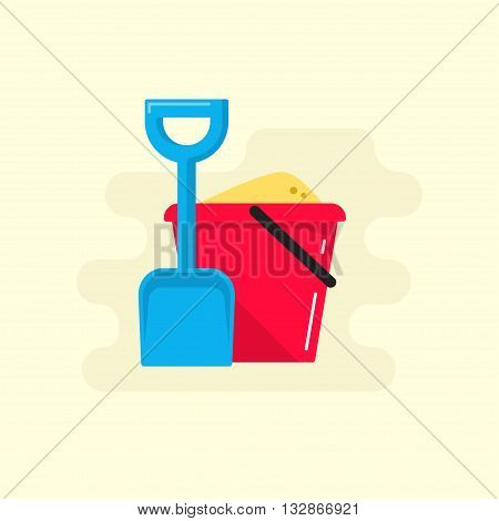 Bucket and spade with sand vector illustration flat icon isolated, kid toys tools symbol, pail shovel label, bucket and spade modern design banner, sandbox place sign ribbon design concept poster