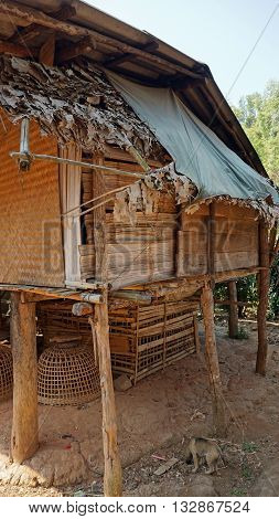 traditional old karen village in thailands mouintains