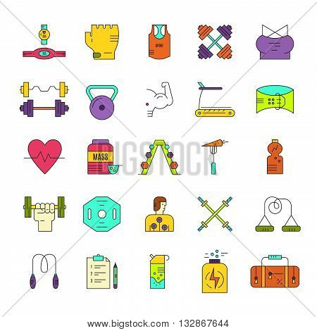 Modern line style collection of weightloss active lifestyle and gym training. Vector icons. Gym training icons