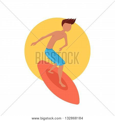 Surfer boy riding a surfboard. Vector illustration.