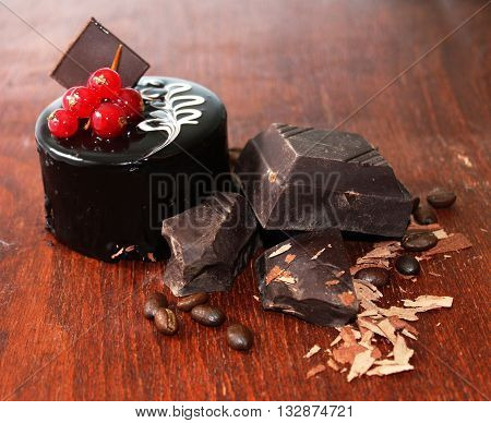 Chocolate cake is a cake flavored with melted chocolate and/or cocoa powder.