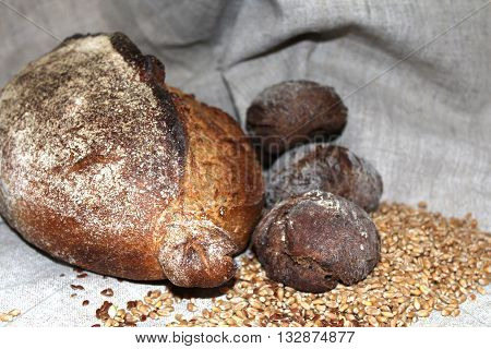 Rye bread is a type of bread made with various proportions of flour from rye grain. It can be light or dark in color depending on the type of flour used and the addition of coloring agents and is typically denser than bread made from wheat flour.