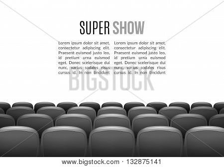 Movie theater with row of gray seats. Premiere event template. Super Show design. Presentation concept with place for text.