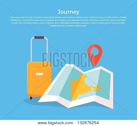 Journey concept luggage and map. Travel and journey with luggage and map. bag and vacation tourism trip, baggage for holiday tour design, adventure object map and pin isolated. Vector illustration