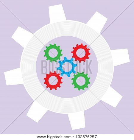 Operation mechanism flat. Industry technical system with cogwheel work and do business pdca. Vector illustration