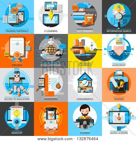 Online education flat color icons set of training materials audio lessons homework self education dossier design compositions isolated vector illustration