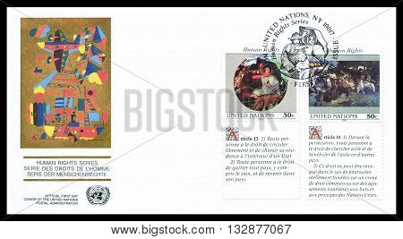 UNITED NATIONS - CIRCA 1991 : First day cover letter printed by United nations, that promotes Human rights.