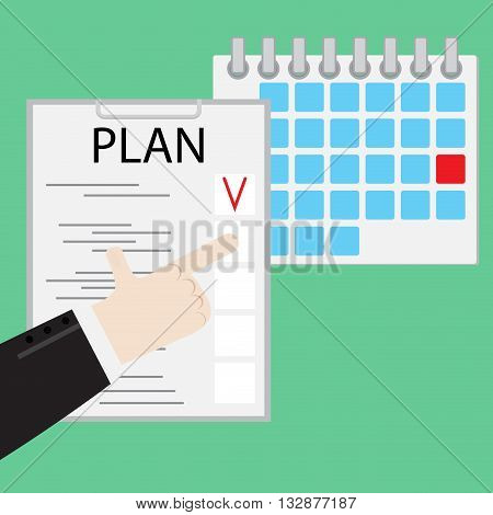 Performing daily work. Daily personal reminder and agenda illustration performance. Management do is success vector