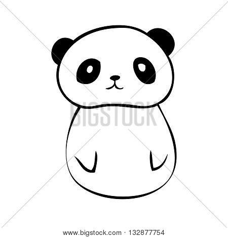 Vector tail panda icon little panda logo black on white background. Cute flat anime panda.