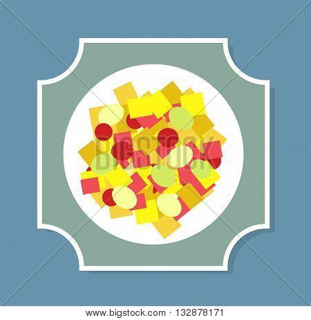 Greek salad on the plate vector illustration. Greek salad plate isolated on background. Greek salad flat modern style vector