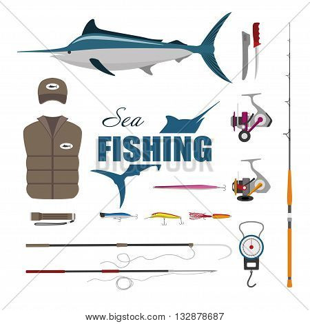 Set items fisherman . Sea fishing . Collection of fishing equipment. Vector illustration