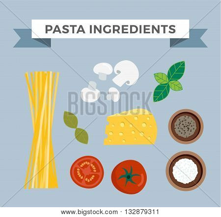 Raw pasta with ingredients on white background and pasta ingredients cuisine spaghetti ingredient. Vector pasta ingredients mediterranean vegetarian garlic and cheese space pasta ingredients.