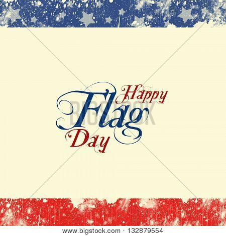 A header footer illustration with United States flag colors on Flag Day