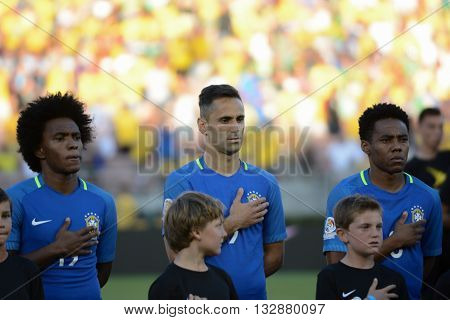 Brazilian Soccers  During National Anthem At The Copa America Centenario