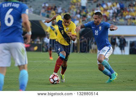 Ecuatorian Soccer Advancing With The Ball During Copa America Centenario