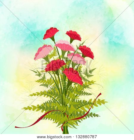 Springtime Red Carnation Flower on Colorful Background
