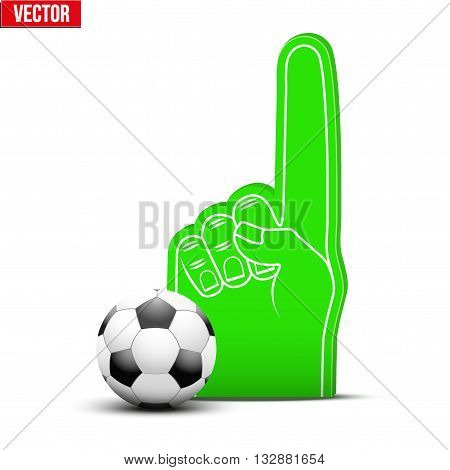 Symbol of Football Sports Fan Foam Fingers and ball. Vector Illustration Isolated on white background.