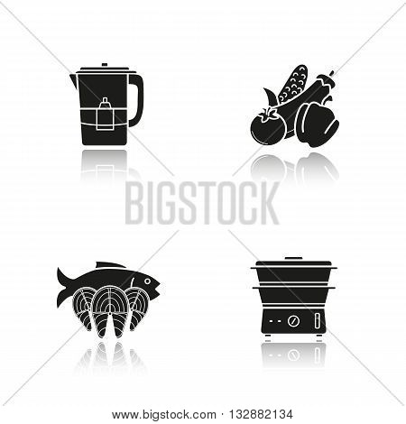 Steam cooking drop shadow black icons set. Vegetables, fish, water filter and steam cooker. Modern kitchenware. Steam cooking logo concepts. Vector illustrations
