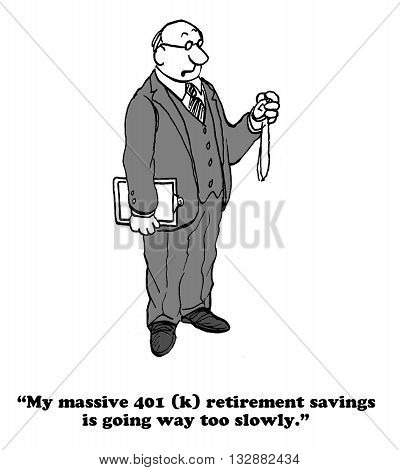 Business cartoon about a businessman who wants his 401(k) to grow faster.