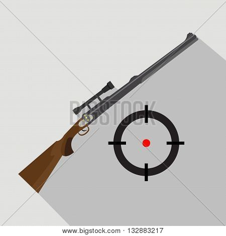 Sniper scope rifle isolated on grey background. Flat and cartoon style. Hunting season.