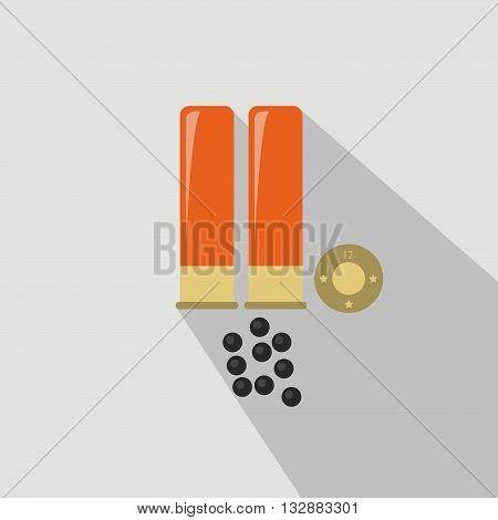Ammo from hunting gun. Flat and cartoon style. Vector illustration. Hunting season.