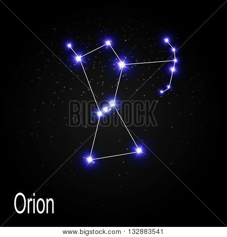 Orion Constellation with Beautiful Bright Stars on the Background of Cosmic Sky Vector Illustration EPS10 poster