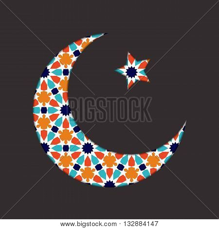 Islamic ramadan greeting card. Islamic Ramadan decoration. Islamic moon and star vector illustration. Ramadan template