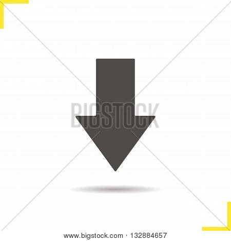 Download arrow icon. Drop shadow down silhouette symbol. Computer and smartphone digital interface symbol. Files uploading icon. Download arrow logo concept. Vector down symbol isolated illustration