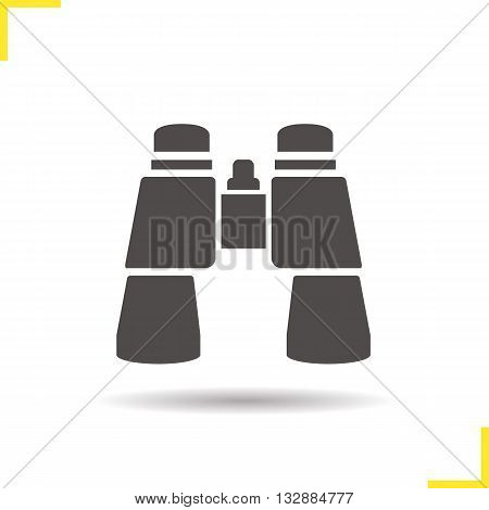 Binoculars icon. Drop shadow binoculars silhouette symbol. Surveillance instrument. Tourist's equipment. Binoculars logo concept. Vector binoculars isolated illustration