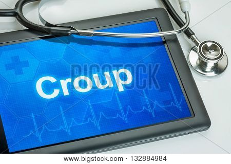 Tablet With The Diagnosis Croup On The Display
