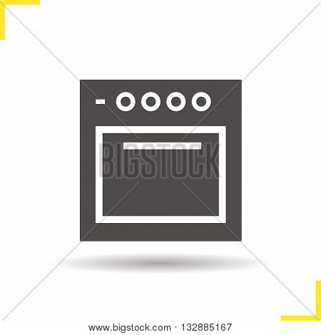 Stove icon. Drop shadow oven silhouette symbol. Gas cooker. Electric cooking equipment. Stove logo concept. Vector oven isolated illustration