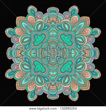 Ornamental pattern round. Lace mandala in rose quartz and serinity colors.