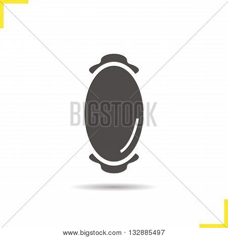 Wall mirror icon. Drop shadow mirror silhouette symbol. House decoration furniture item. Wall mirror logo concept. Vector oval mirror isolated illustration