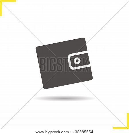 Purse icon. Drop shadow wallet silhouette symbol. Leather men's fashion accessory. Cash money and credit cards case. Purse logo concept. Vector men's wallet isolated illustration