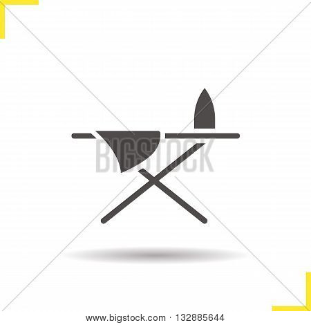 Ironing board icon. Drop shadow iron and sheet silhouette symbol. Ironing table. Vector isolated illustration