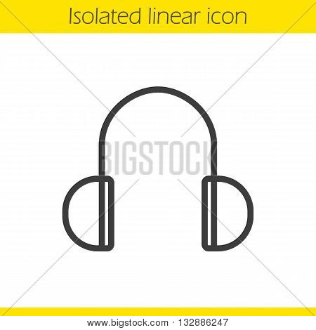 Headphones linear icon. Meloman's modern equipment thin line illustration. Headphones contour symbol. Vector isolated outline drawing