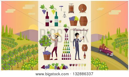 Winemaking design concept and icon set. Grape for wine, drink alcohol vine and glass bottle for winemaking, winery beverage barrel, viticulture production and preparation, vector illustration