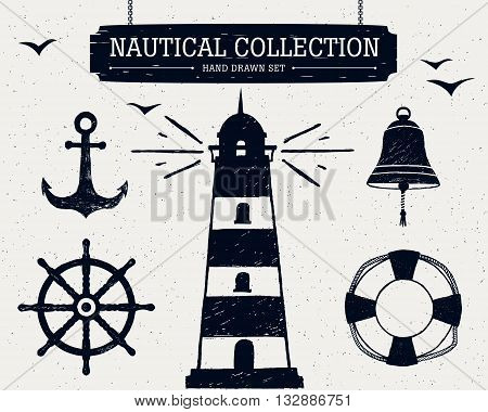 Hand drawn nautical collection of lighthouse anchor ship helm lifebuoy bell.
