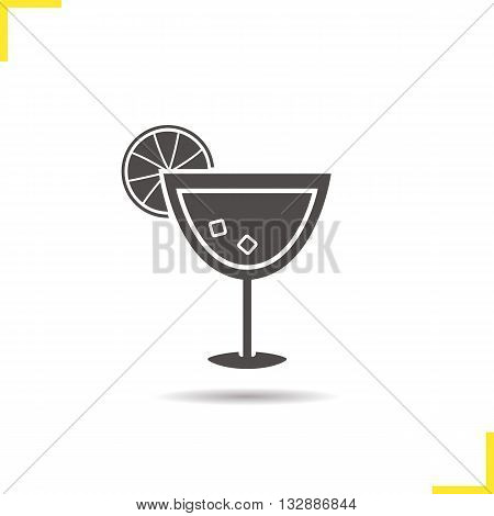 Cocktail icon. Drop shadow alcohol cocktail drink silhouette symbol. Alcoholic beverage glass. Cocktail logo concept. Vector alcohol cocktail drink isolated illustration