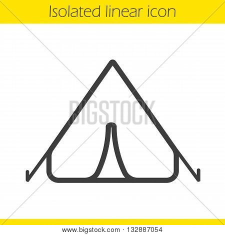 Tent linear icon. Thin line illustration. Tourist's equipment. Boyscout's outdoor shelter. Contour symbol. Tent logo concept. Vector isolated outline drawing