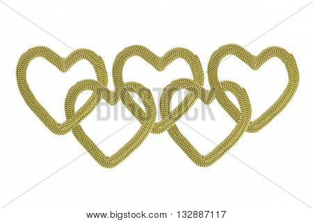 Сonnected gold hearts. Chain of gold hearts. Gold (aureate) bead on a white background.