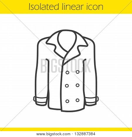 Coat linear icon. Men and women seasonal leather outerwear thin line illustration. Jacket contour symbol. Vector isolated outline drawing