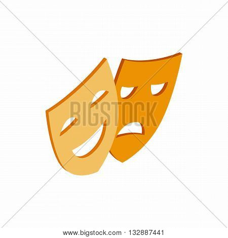 Comedy and tragedy theatrical masks icon in isometric 3d style on a white background