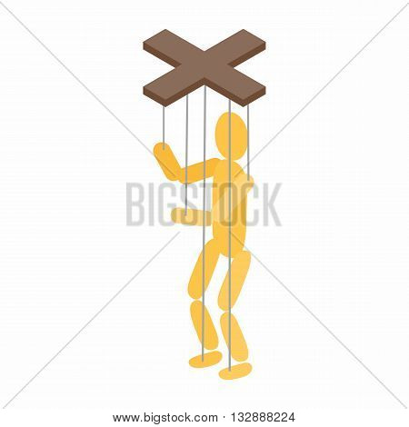 Puppet icon in isometric 3d style on a white background