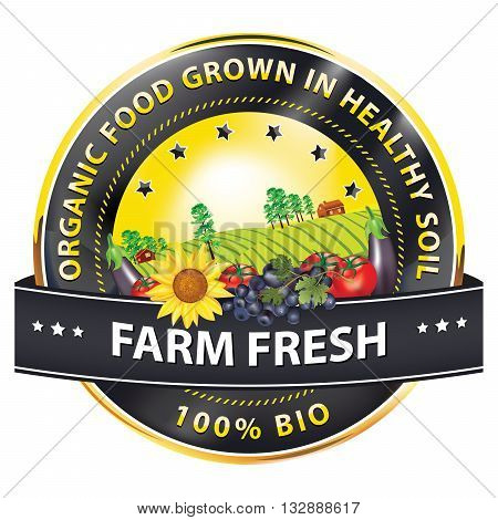 Farm Fresh, 100% Bio, Organic food grown in Healthy soil - label / stamp with fruits and vegetables: grapes, tomatoes, sunflower. Print colors used