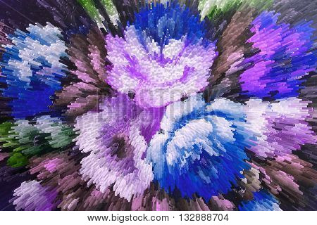 color extrusion blocks Abstract colorful 3D extrusion background flowers floral pattern